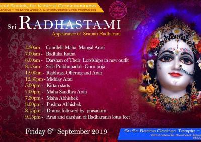 Sri Radhastami ISKCON Kumeu Auckland 2019