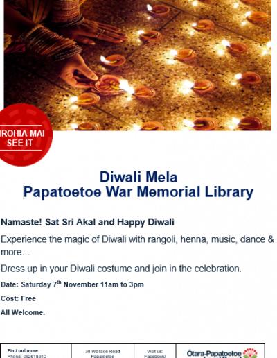 Diwali Mela Papatoetoe Library 2020